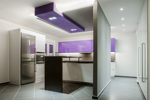 kitchen, rennovation, purple, colour, kitchen gallery, interior design, lighting, led, stripes