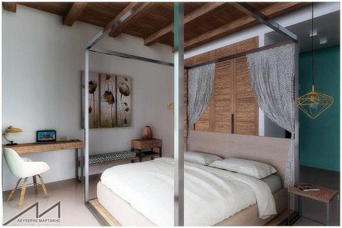 hotel room, 3d, visualisation, interior design, sea, blue